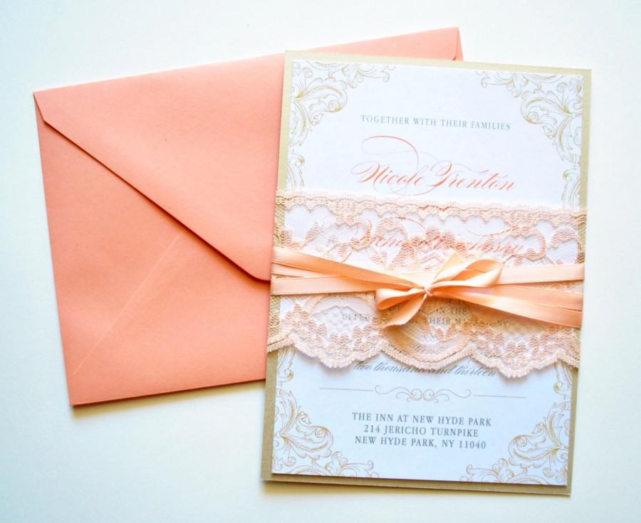 peach lace wedding invitations rustic lace wedding invitations