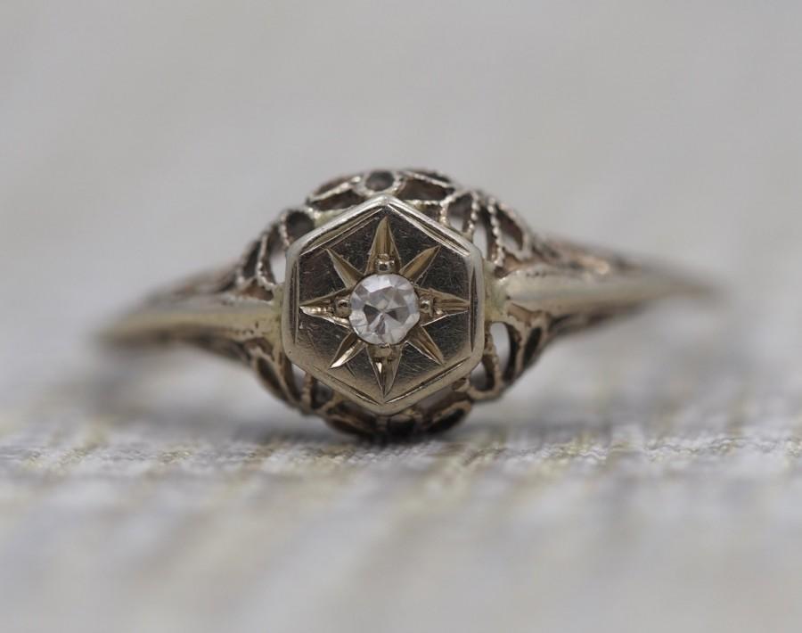 زفاف - 14K White Gold Antique Engagement Ring with Old Single Cut Diamond and Filigree Work VEG #16