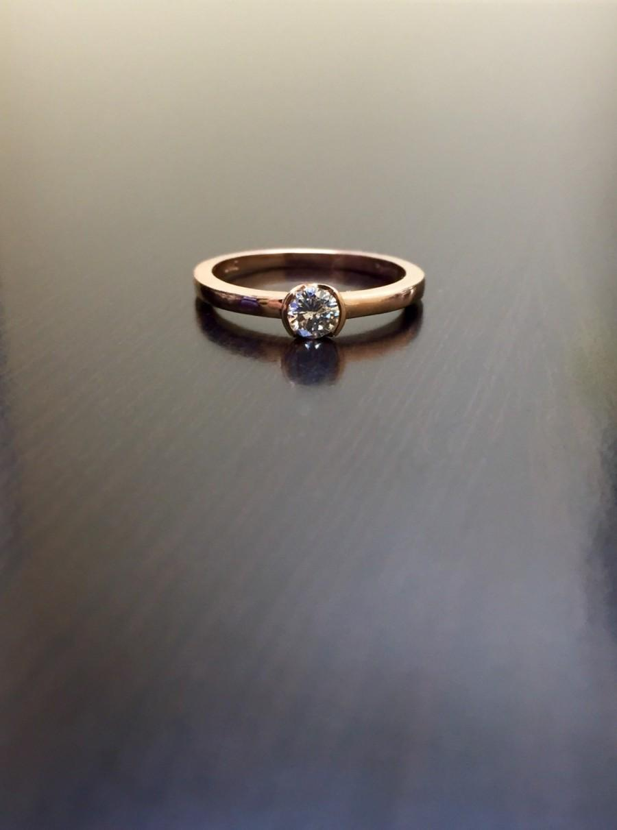 Wedding - 14K Rose Gold Solitaire Diamond Engagement Ring - 14K Gold Diamond Wedding Ring - Rose Gold Solitaire Diamond Ring - 14K Rose Gold Ring
