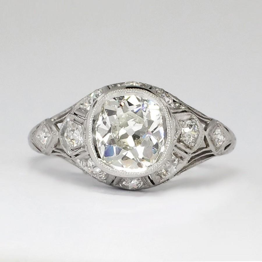 Art Deco 214ct Tw 1930's Bezel Set Old European Cut Diamond Engagement  Ring Platinum