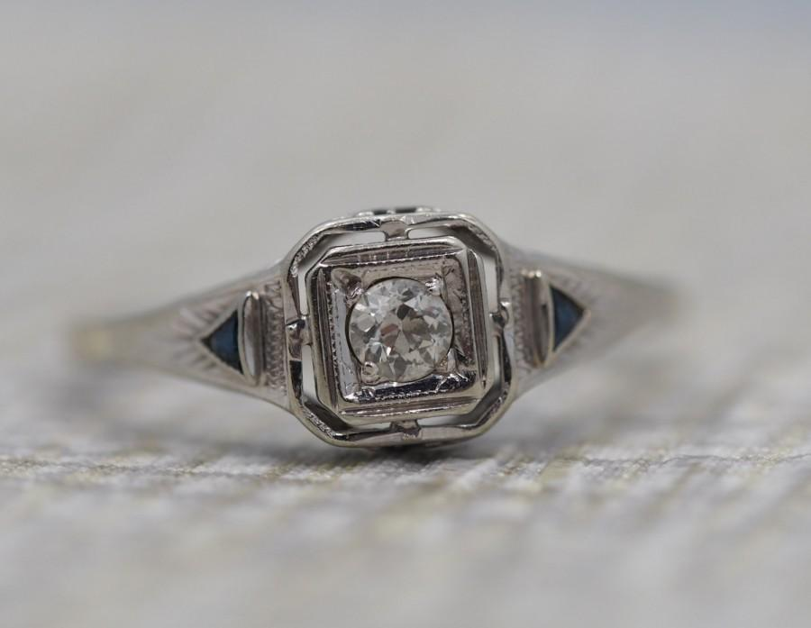 Свадьба - 14K Gold Antique Engagement Ring with Sapphire Accents - Art Deco with Old Miner Cut Diamond