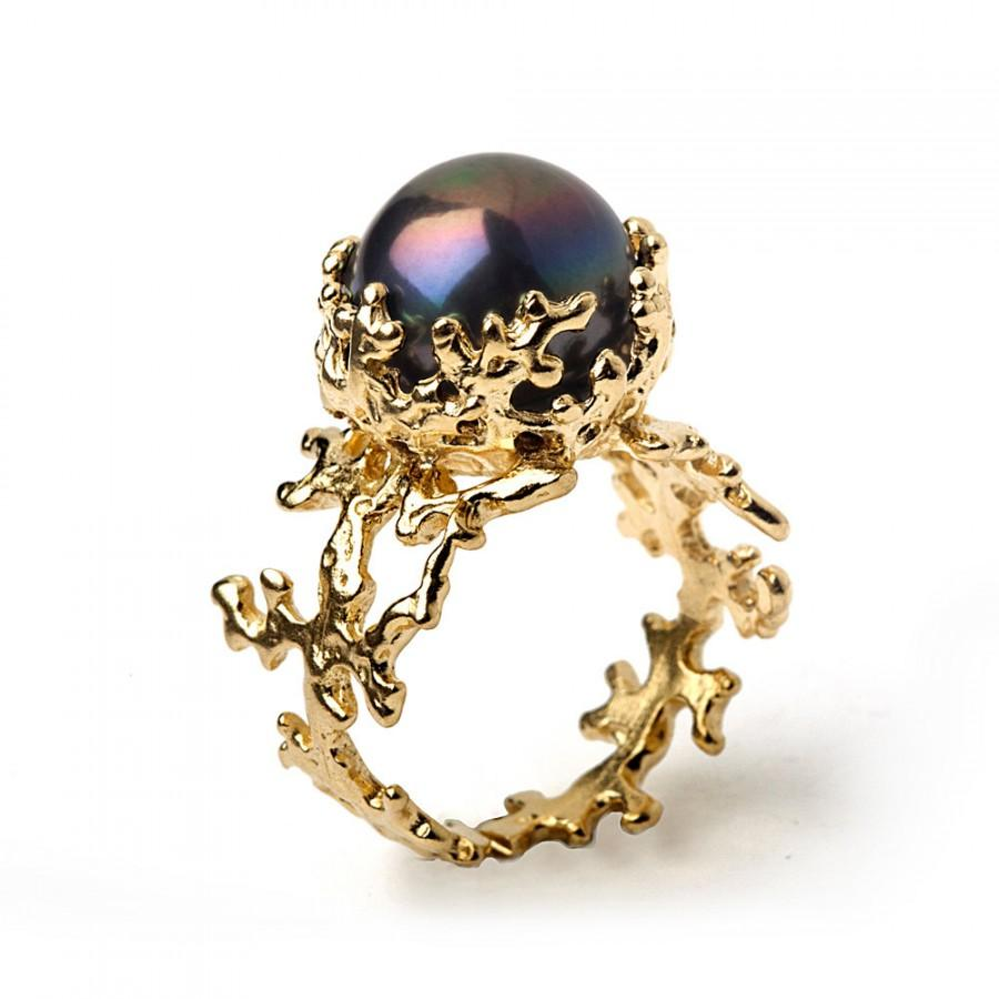 CORAL Black Pearl Ring Black Pearl Engagement Ring 14k Yellow Gold
