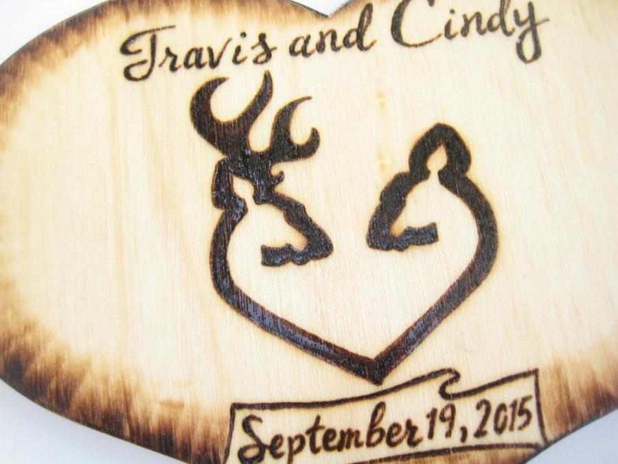 711961b39985f DEER cake topper -Buck and Doe, Hunting, Country, Wood Heart, Silhouette,  Rustic, Camo Wedding Decorations -Couple Custom