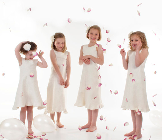 Mariage - Ivory Flower Girl Dress eco friendly felted wool