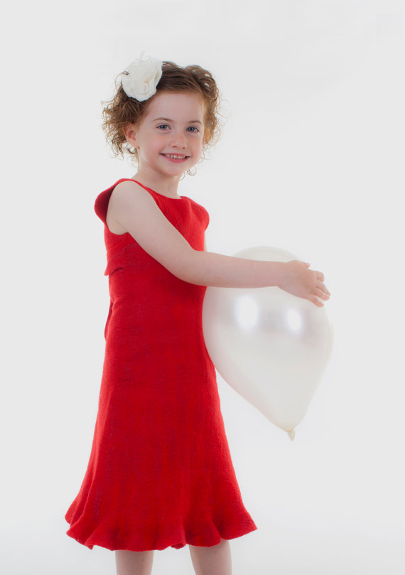 red girls dress eco friendly toddler childrens dress girls christmas dress