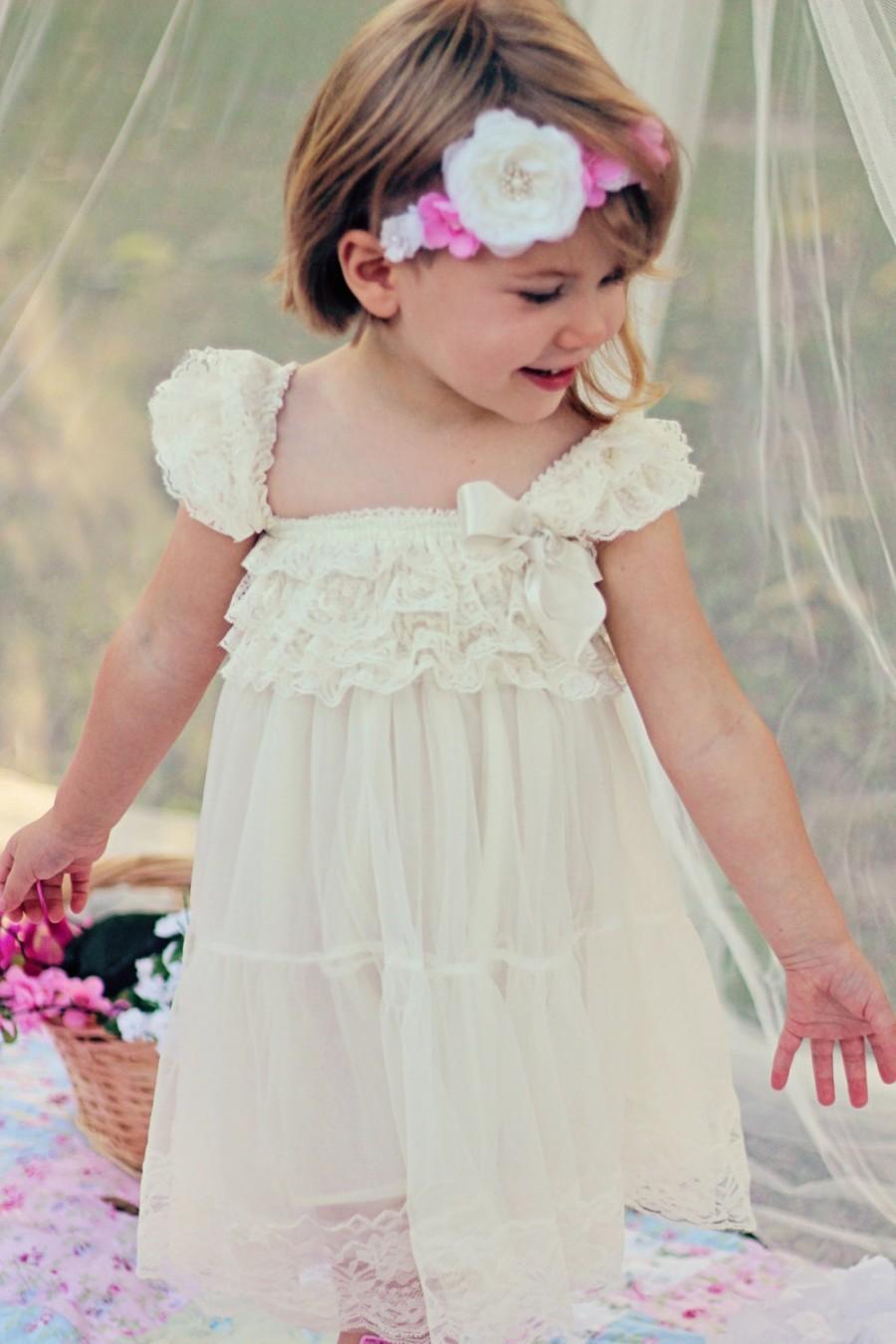 زفاف - Rustic Flower Girl Dress / Country Flower Girl Dress / Lace Petti Dress..Rustic Flower Girl / Ivory Lace Flower Girl Dress / Cream..Wheat .