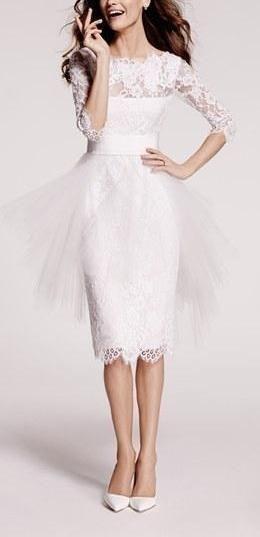 Hochzeit - Women's Marchesa Tulle Overskirt Embroidered Lace Dress
