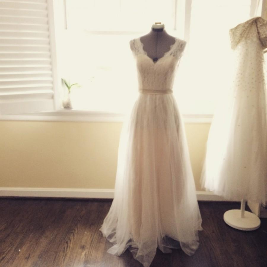Wedding - Dana vintage style lace Wedding Dress- Made to order-classic V neck and fully covered lace back