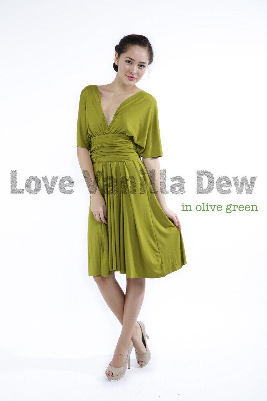 Bridesmaid Dress Infinity Dress Straight Hem Olive Green Knee Length Wrap Convertible Dress Wedding Dress 2404669 Weddbook