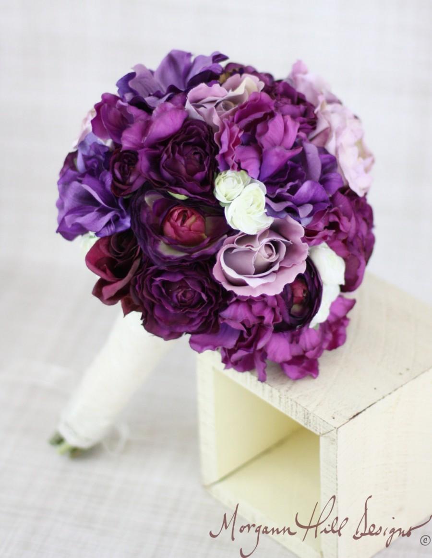 Silk Bride Bouquet Roses Ranunculus Anemone Purple Lavender Cream ...