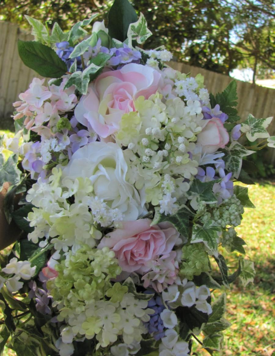 Mariage - Handmade Bridal Bouquet Pretty Cascade Wedding Bouquet in Pastel Pinks Purples Ivory and Green Silk Flowers