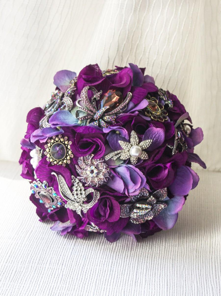 Aubergine Rose Brooch Bouquet Aubergine Wedding Silk Flower Bridal