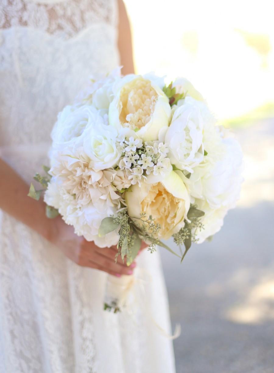 Silk Bride Bouquet White Cream Roses Peonies Wildflowers Natural ...
