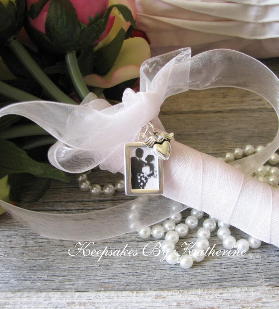 Wedding - Photo Frame Bouquet Charm, Silver Frame Bouquet Charm, Brides Bouquet Charm