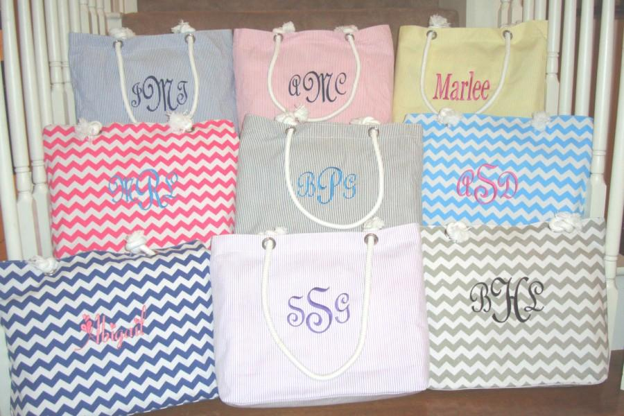 Mariage - 7 Personalized Bridesmaid Gift Personalized Bridesmaids Tote Bags in Seersucker or Chevron