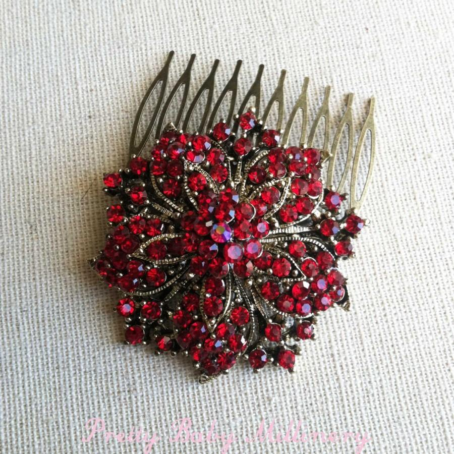 Mariage - christmas, valentines day gift, christmas jewelry, Red hair accessories, red hair comb, vintage hair comb, christmas red ruby jewelry