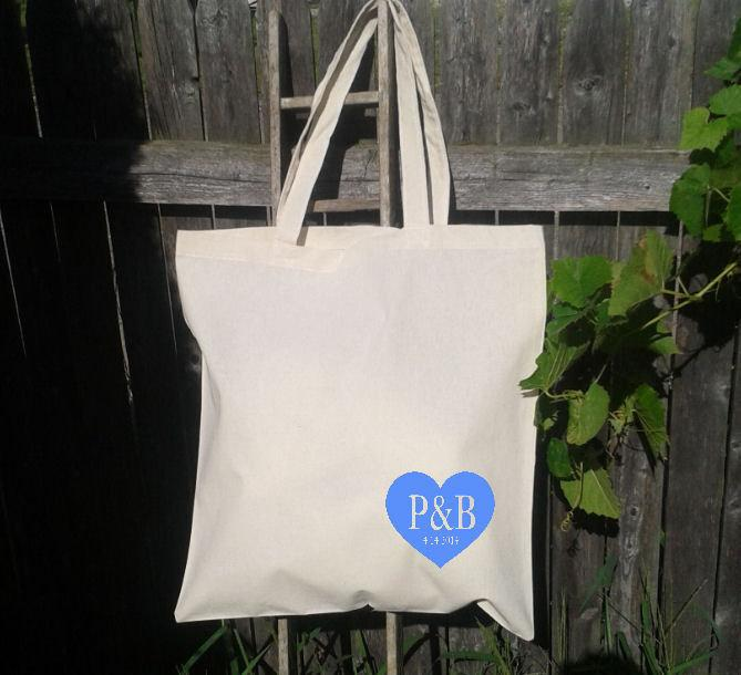 Mariage - Wedding Welcome Tote - Welcome Bags -Destination Wedding-Heart with Initials and Date- You choose color