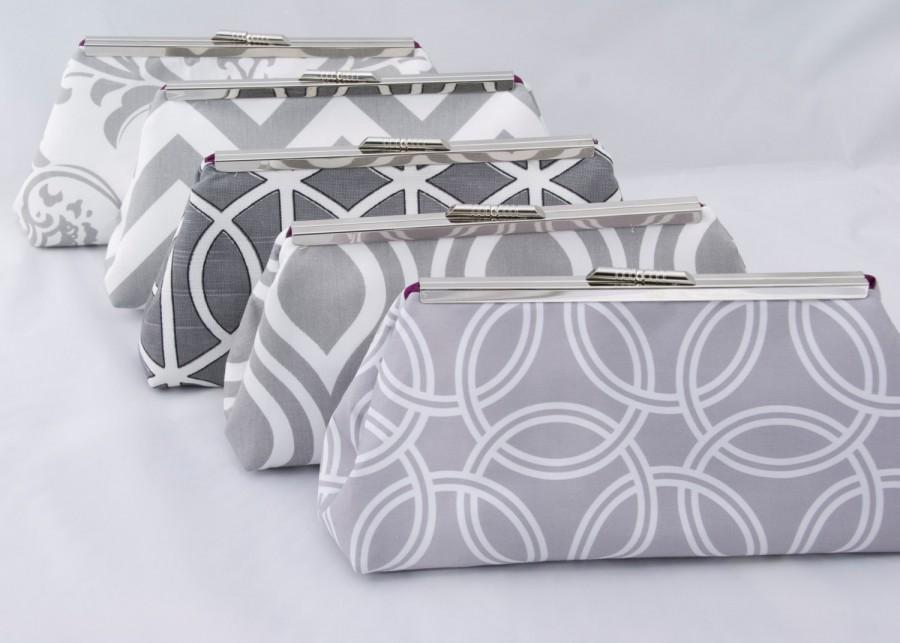 Mariage - Set of (5) Gray Bridesmaids Handbags for Wedding Party Design your own in varying gray fabrics