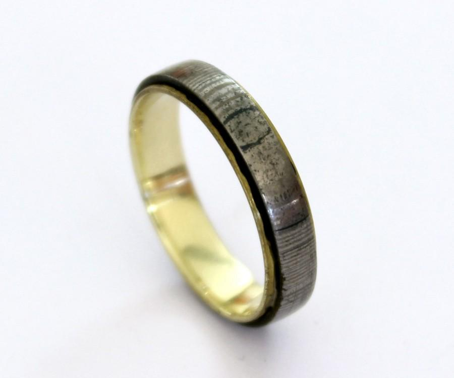 Mariage - Brass ring with damascus steel rustic ring