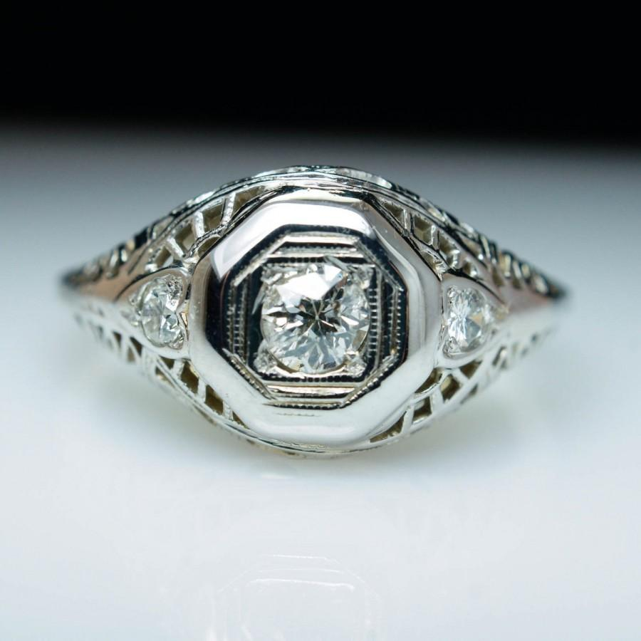 Wedding - Antique Late Edwardian Diamond Engagement Ring 18k White Gold w/ Old European Cut Diamond - Free Sizing