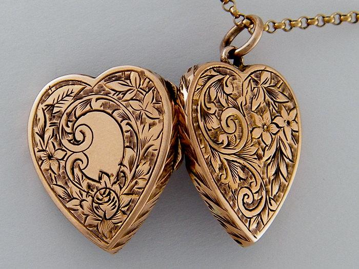1890s Antique Locket TRUE LOVE 9K Rose Gold Antique Locket Necklace Floral Heart Locket Wedding