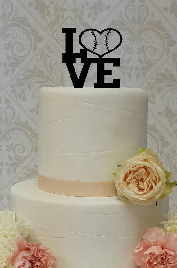 Свадьба - Baseball Theme Love Cake Topper Wedding Grooms Cake