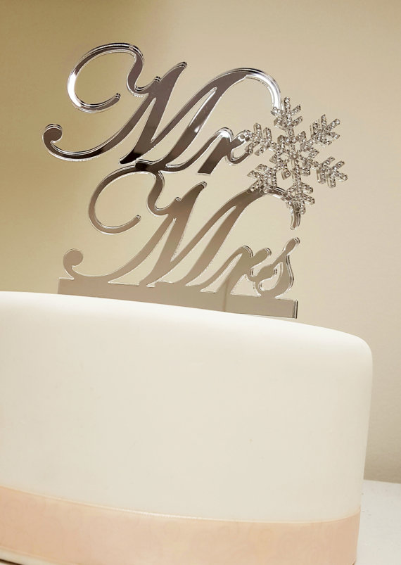 Winter Themed Wedding Snowflake Mr & Mrs Cake Topper Swarovski ...