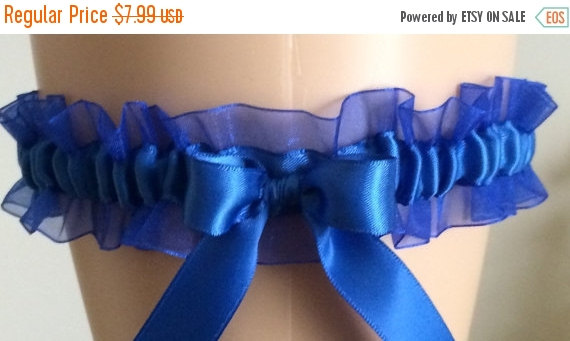 Wedding - Royal Blue Organza Garter, Wedding Garter, Bridal Garter, Keepsake Garter, Prom Garter, Garters, Something Blue