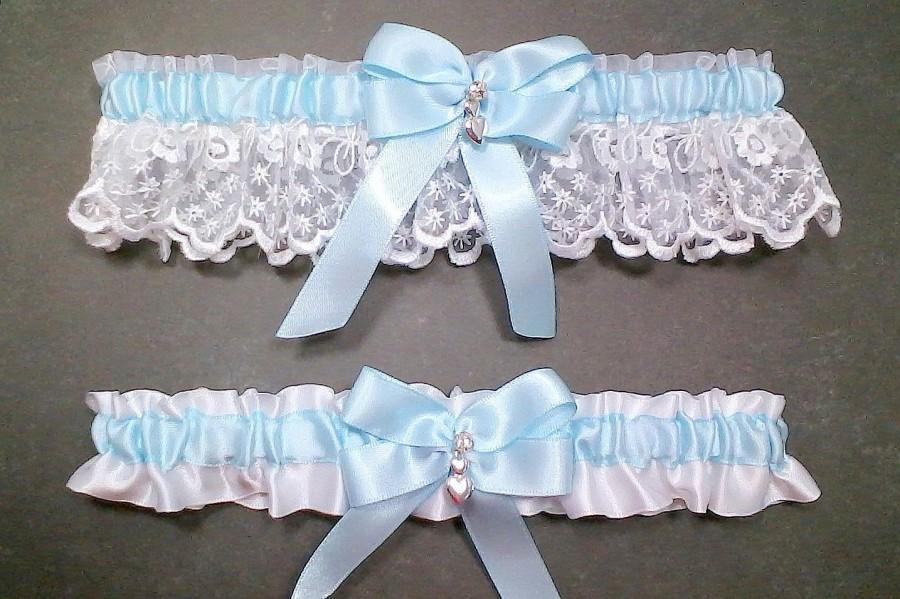 Mariage - Light Blue on White Wedding Garter Set Bridal Garter Set, Light Blue on White Keepsake Garter Toss Garter Bow with Rhinestone & Hearts Charm