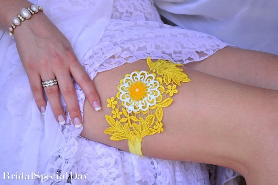 Wedding - Yellow Wedding Accessories Lace Wedding Garter Set Yellow Bridal Garter With Enamel Flower - Handmade Bridal Gifts