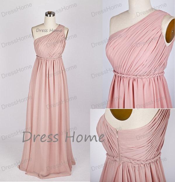 Свадьба - Blush Pink Bridesmaid Dress - One-shoulder Bridesmaid Dress/Long Prom Dress/Cheap Bridesmaid Dress/Wedding party Dress DH132
