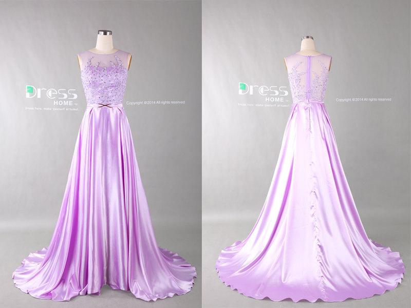 Lavender beading lace appliques long prom dress see through long
