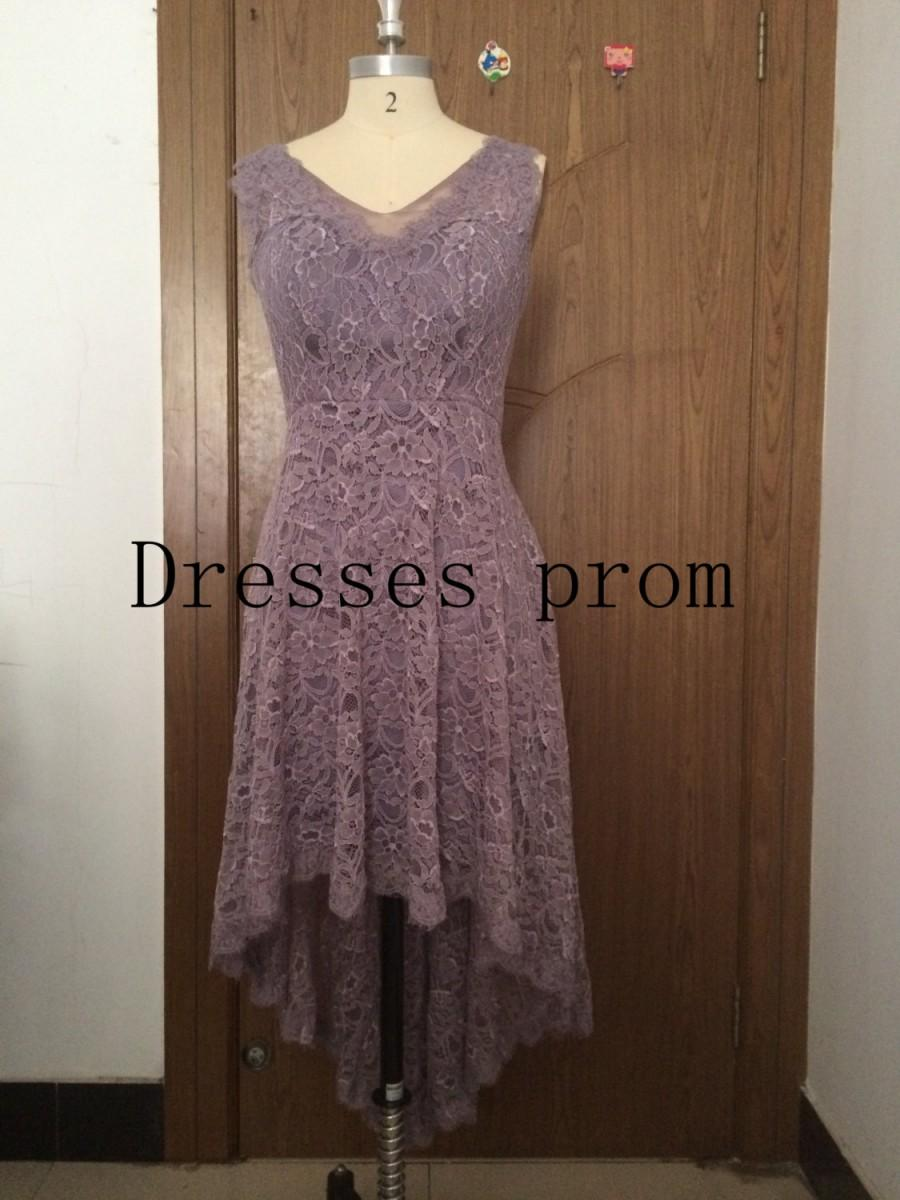 936d489f79 Asymmetrical High Low V-neck Lace Bridesmaid Dress grey Short front Long  back Lace Prom Dress High Low Wedding Dress