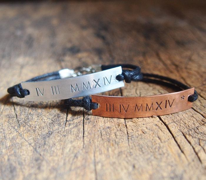 Roman Numeral Couples Bracelet Customized Roman Numeral Bracelet