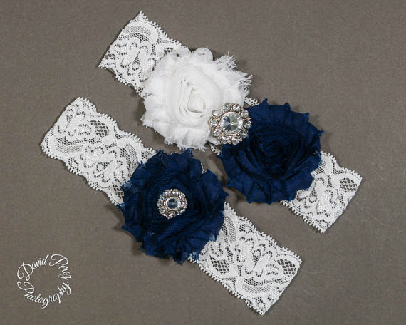 Wedding - Wedding Garters Bridal Garters Lace Garter Wedding Garters Toss Garter keepsake Garder Vintage Garter White and Navy Blue Garter White Lace