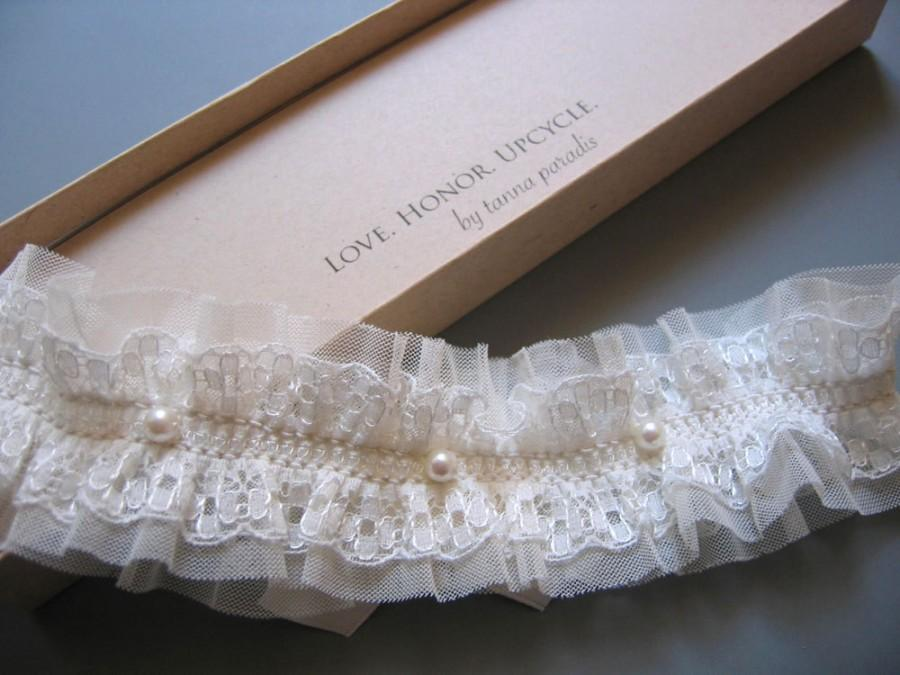 Wedding - Emile - Ivory Lace Garter with Tulle - Adorned with Vintage Pearls