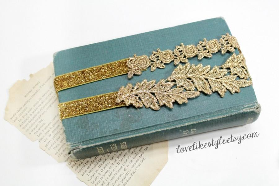 Wedding - Gold Leaf Lace Wedding Garter Set, Gold Flower Lace Garter Set, Toss Garter , Keepsake Garter / GT-23