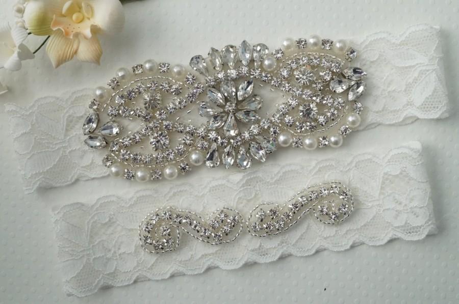 Mariage - RHEA Style A - Bridal Garter, Wedding Garter Set, Stretch Lace Garter, Rhinestone Crystal Bridal Garter
