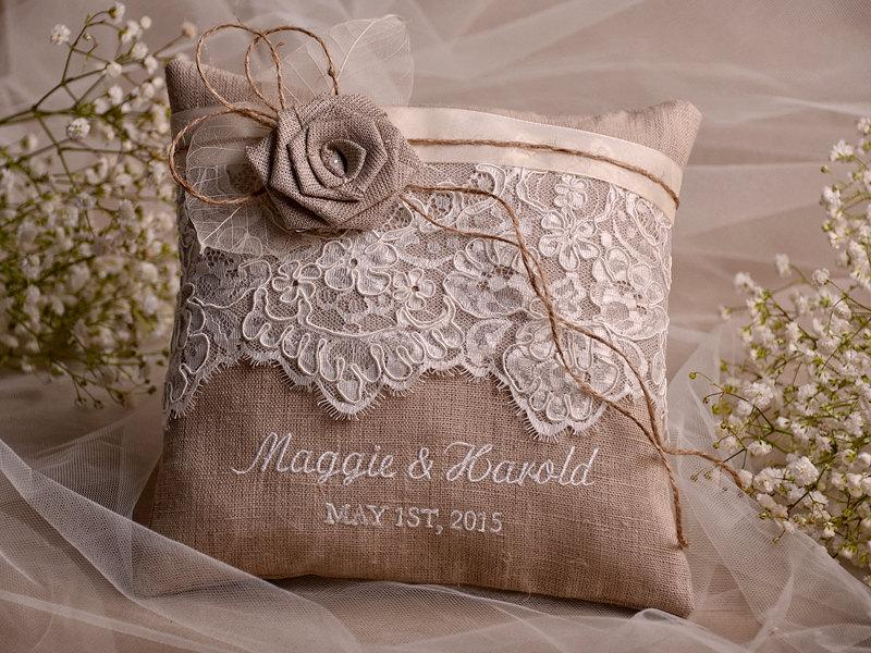 Shabby Chic Linen Pillows : Lace Wedding Pillow Ring Bearer Pillow Embroidery Names, Shabby Chic Natural Linen #2404897 ...