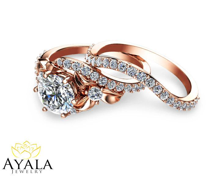 Bridal Set 14k Rose Gold Diamond Ring Designer Engagement Ring Leaf