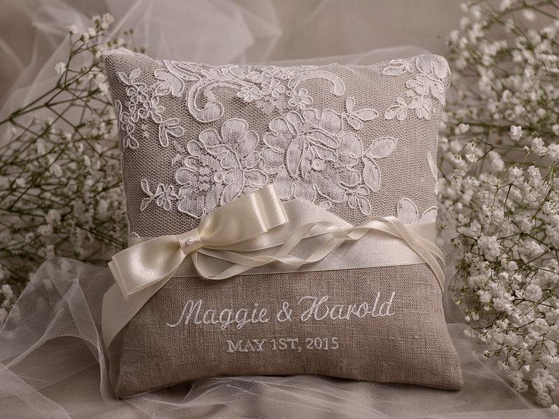 Shabby Chic Linen Pillows : Lace Wedding Pillow Ring Bearer Pillow Embroidery Names, Shabby Chic Natural Linen #2404907 ...