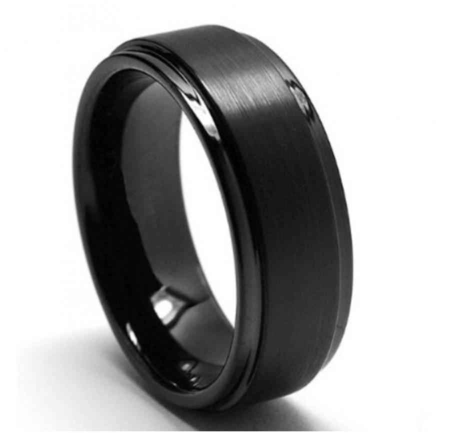 Tungsten Wedding Band Black Rings Matte Brushed Comfort FitTungsten Mens Ring