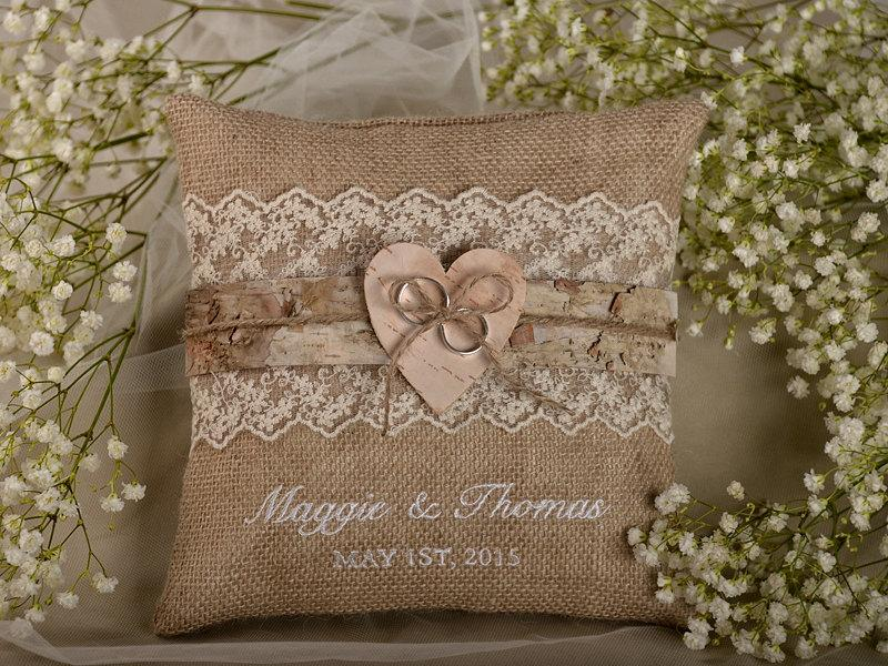Lace Rustic Wedding Pillow Birch Bark Ring Bearer Burlap Embroidery Names Shabby Chic Natural Linen