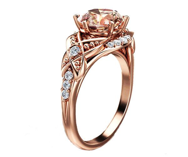 14K Rose Gold Morganite Ring unique Engagement Ring Gold Leaf Ring Wedding R