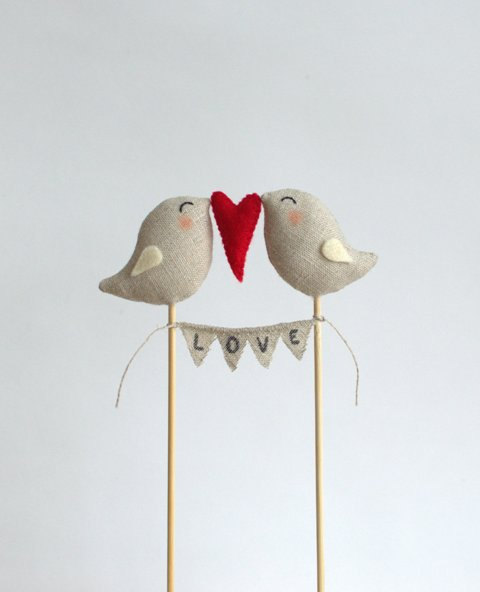 Wedding - Full of Love Birds with Love Garland Wedding Cake Topper