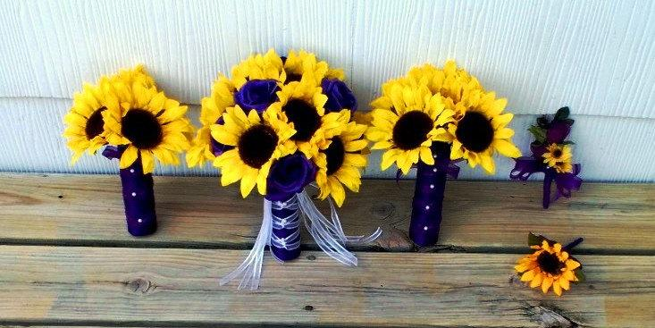 17 Piece Sunflower Purple Rose Wedding Bouquet Flower Set, Sunflower ...