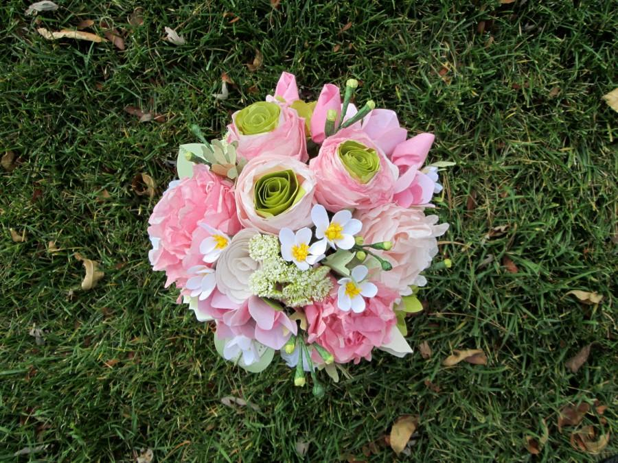 Crisp Pink Peony Ranunculus And Cherry Blossom Wedding Bouquet With Dusty Miller By Lovelee Flowers