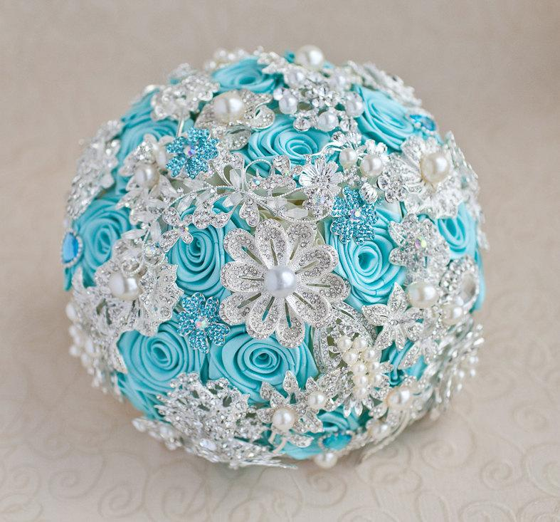 Hochzeit - Brooch bouquet. Turquoise and silver wedding brooch bouquet, Jeweled Bouquet. Made upon request