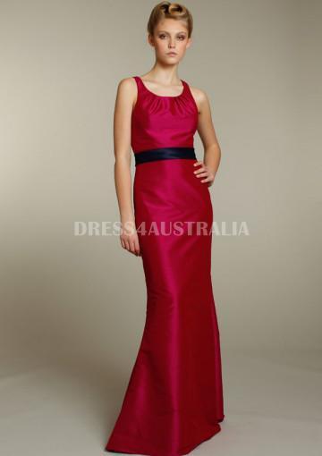 Wedding - Buy Australia Sheath Ruby Scoop Neckline Taffeta with Sash Accent Floor Length Bridesmaid Dresses by JLM jh5185 at AU$140.25 - Dress4Australia.com.au
