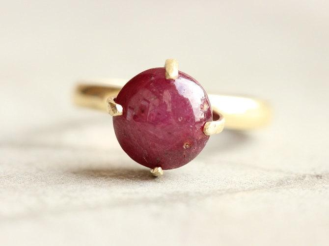 Mariage - 18k Gold ring - Star Ruby  ring - Wedding ring - Engagement ring - Anniversary ring - Gift for her